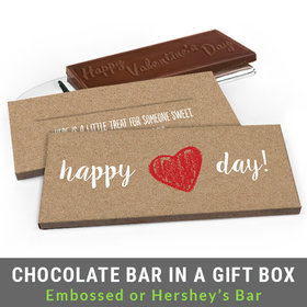Deluxe Personalized Hand Drawn Heart Valentine's Day Chocolate Bar in Gift Box