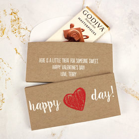 Deluxe Personalized Drawn Heart Valentine's Day Godiva Chocolate Bar in Gift Box
