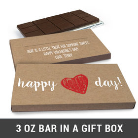 Deluxe Personalized Craft heart Valentine's Day Belgian Chocolate Bar in Gift Box (3oz Bar)