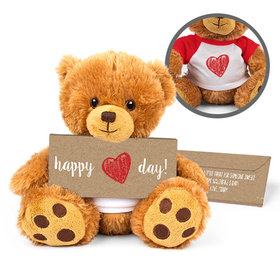 Personalized Valentine's Day Hand Drawn Heart Teddy Bear with Belgian Chocolate Bar in Deluxe Gift Box