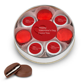 Valentine's Day Hearts Silver Large Plastic Tin with 8 Chocolate Covered Oreo Cookies