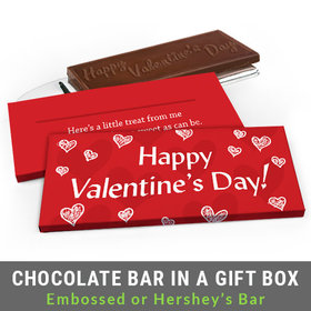 Deluxe Personalized Scribble Hearts Valentine's Day Chocolate Bar in Gift Box