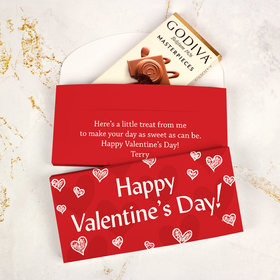 Deluxe Personalized Scribble Hearts Valentine's Day Godiva Chocolate Bar in Gift Box