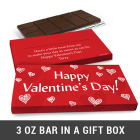 Deluxe Personalized Scribble Hearts Valentine's Day Chocolate Bar in Gift Box (3oz Bar)