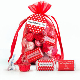Red Medium Organza Bag Little Hearts Valentine's Day Hershey's Mix