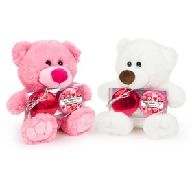 Personalized Valentine's Day Fading Heart Teddy Bear with Chocolate Covered Oreo 2pk