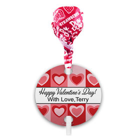 Personalized Love Pop Art Hearts Valentine's Day Dum Dums with Gift Tag (75 pops)