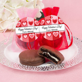 Personalized Valentine's Day Fading Hearts Chocolate Covered Oreo Cookie in Organza Bags