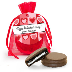 Personalized Valentine's Day Fading Hearts Chocolate Covered Oreo Cookies in Organza Bags