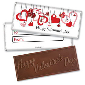 Fill in the Blank Valentine's Day Hanging Hearts Embossed Chocolate Bar & Wrapper
