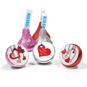 Valentine's Day Love Mix Hershey's Kisses Hanging Hearts Assembled Kisses (50 Pack)
