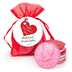 Personalized Valentine's Day Hanging Heart Chocolate Coins in XS Organza Bags with Gift Tag
