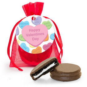 Personalized Valentine's Day Conversation Hearts Chocolate Covered Oreo Cookies in Organza Bags with Gift tag