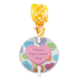 Conversation Hearts Kid's School Valentine's Day Dum Dums with Gift Tag (75 pops)