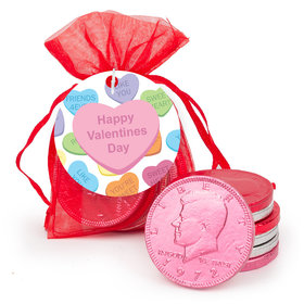 Personalized Valentine's Day Conversation Hearts Chocolate Coins in XS Organza Bags with Gift Tag