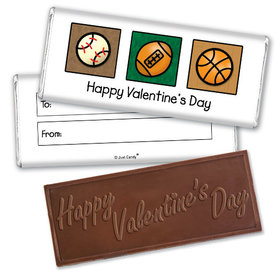 Fill in the Blank Valentine's Day Sports Embossed Chocolate Bar & Wrapper