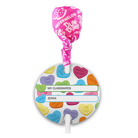 Personalized Conversation Hearts Valentine's Day Dum Dums with Gift Tag (75 pops)