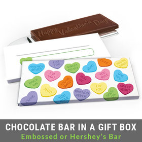 Deluxe Personalized Conversation Hearts Valentine's Day Chocolate Bar in Gift Box