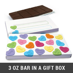 Deluxe Personalized Conversation Hearts Valentine's Day Chocolate Bar in Gift Box (3oz Bar)