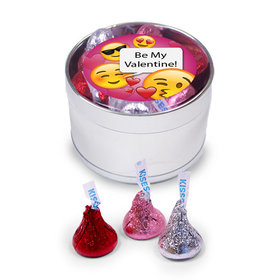 Valentine's Day Emoji Medium Silver Plastic Tin - 30 Hershey's Kisses Love Mix