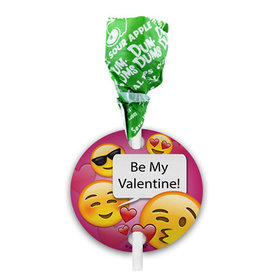 Personalized Emoji Valentine's Day Dum Dums with Gift Tag (75 pops)