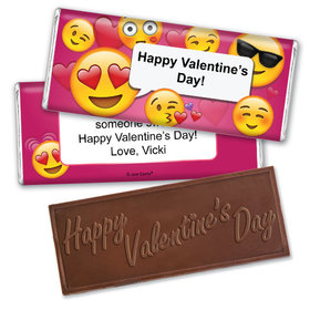 Personalized Valentine's Day Emoji Embossed Chocolate Bar & Wrapper