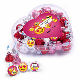 Personalized Valentine's Day Emoji Clear Heart Box 13oz