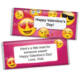 Personalized Valentine's Day Emoji Chocolate Bar & Wrapper