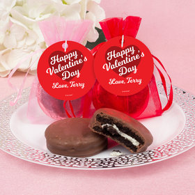 Personalized Valentine's Day Script Heart Chocolate Covered Oreo Cookies in Organza Bags with Gift tag