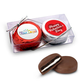Add Your Logo Valentine's Day Script Heart 2Pk Chocolate Covered Oreo Cookies