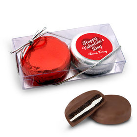 Personalized Valentine's Day Script Heart 2Pk Chocolate Covered Oreo Cookies