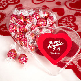 Personalized Valentine's Day Script Heart Clear Heart Box with Lindor Valentine Heart Truffles