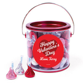 Personalized Valentine's Day Script Heart Hershey's Kisses Red Paint Can