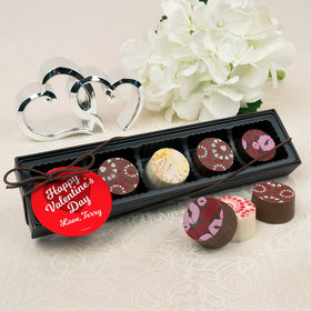 Personalized Valentine's Day Script Heart Gourmet Belgian Chocolate Truffle Gift Box (5 Truffles)