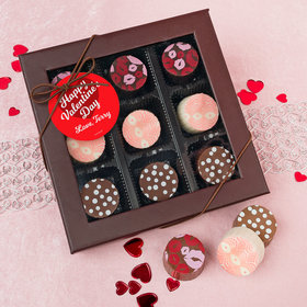 Personalized Valentine's Day Script Heart Belgian Chocolate Truffle Gift Box (9 Truffles)