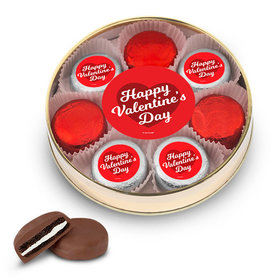 Valentine's Day Script Heart Gold Large Plastic Tin - 8 Chocolate Covered Oreo Cookies