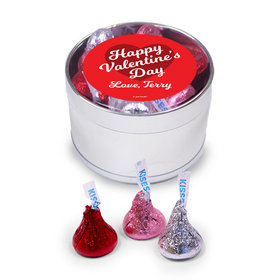 Personalized Valentine's Day Heart Medium Silver Plastic Tin - 30 Hershey's Kisses Love Mix