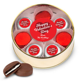 Personalized Valentine's Day Gold Extra Large Plastic Tin - 16 Belgian Chocolate Covered Oreo Cookies
