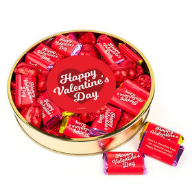 Personalized Valentine's Day Script Heart Large Plastic Tin Hearts & Hershey's Miniatures