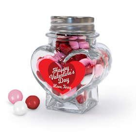 Personalized Valentine's Day Script Heart Glass Heart Jar