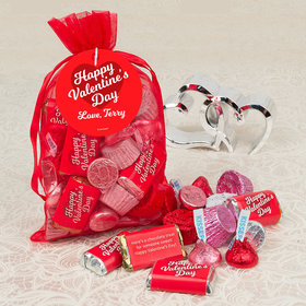 Personalized Valentine's Day Medium Organza Bag with Hershey's Mix (1/2 lb)