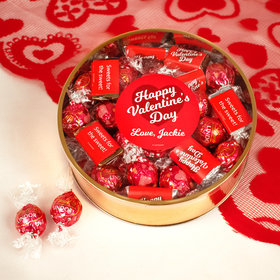 Personalized Valentine's Day Script Heart Extra-Large Plastic Tin with Approx 1lb Personalized Hershey's Miniatures and Lindor Truffles by Lindt