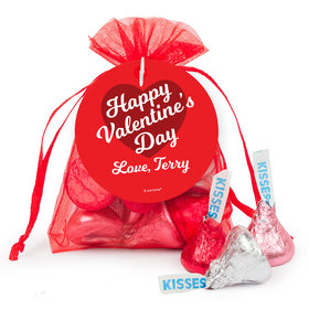 Personalized Valentine's Day Script Heart Hershey's Kisses in Organza Bags with Gift Tag