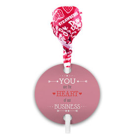 Heart of Our Business Valentine's Day Dum Dums with Gift Tag (75 pops)