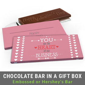 Deluxe Personalized Heart of Our Business Valentine's Day Chocolate Bar in Gift Box