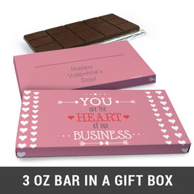 Deluxe Personalized Heart of Our Business Valentine's Day Chocolate Bar in Gift Box (3oz Bar)