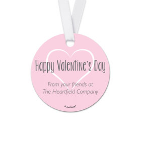 Personalized Valentine's Day White Heart Round Favor Gift Tags (20 Pack)