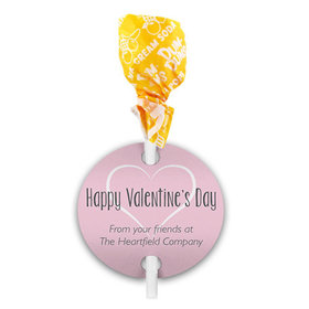 Happy Heart Valentine's Day Dum Dums with Gift Tag (75 pops)