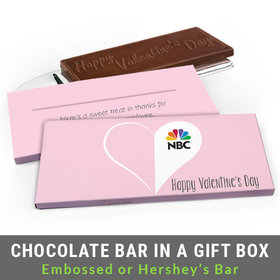 Deluxe Personalized Add Your Logo Heart Valentine's Day Chocolate Bar in Gift Box