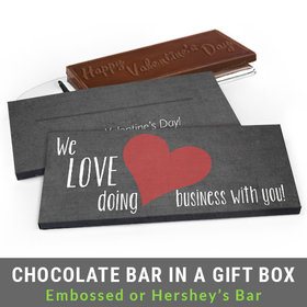 Deluxe Personalized Business Love Valentine's Day Chocolate Bar in Gift Box
